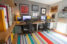 The new home design studio features a 11' red oak desk designed for two.