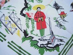 RARE Vintage Souvenir Tablecloth Orient by NeatoKeen on Etsy, $48.00