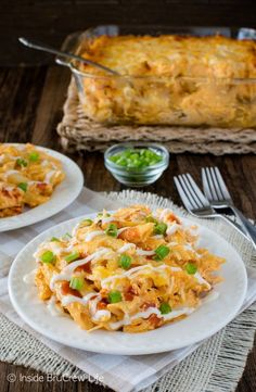 Buffalo Chicken Pasta Bake - spicy chicken dip meets pasta in this easy dinner recipe!