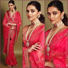 Deepika Padukone in Sabyasachi Pink Organza Saree. To customizations please contact us through WhatsApp Sari Design, Mode Bollywood, Bollywood Fashion, Sabyasachi Sarees, Indian Sarees, Anarkali, Rajasthani Lehenga, Lehenga Saree, Bridal Lehenga