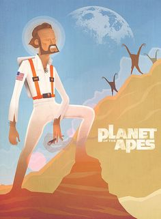 An alternative movie poster for the film Planet of the Apes, created by Andy Walsh, featured on AMP Cartoon Posters, Cartoon Movies, Cartoon Images, Primates, Illustrations, Illustration Art, Planet Of The Apes, Alternative Movie Posters, Movie Poster Art