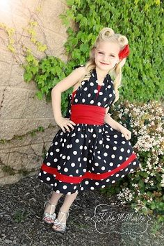 New Rockabilly Retro sewing pattern from Create Kids Couture!! Lexie features a halter top covering a full bodice, ruched waist, and awesome twirly skirt!