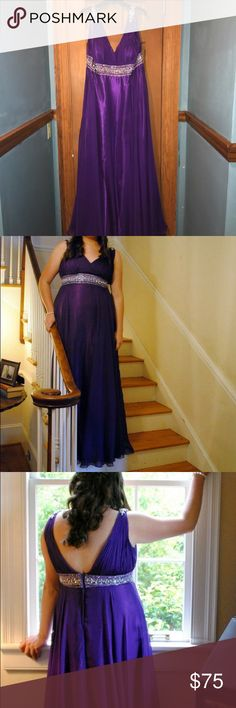 Purple Formal/Prom Gown Cassandra Stone II by Mac Duggal formal/prom gown. Royal purple color. Only worn once in 2013 and in good condition. Size 14W. Several gems missing from straps (photos included), so only asking $75. Mac Duggal Dresses Prom