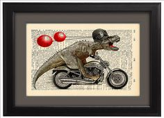 Tyrannosaurus Rex riding a motorbike, Illustration, Dictionary Print, art poster, Motorbike, Gift poster, Dorm Home Wall decor, CODE/104 by Natalprint on Etsy https://www.etsy.com/listing/182549997/tyrannosaurus-rex-riding-a-motorbike