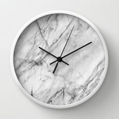 Carrara marble Wall Clock by patternmaker Marble Room Decor, Marble Bedroom, Marble Wall, Marble Print, Marble Bedding, House Lamp, Accessoires Iphone, Wall Clock Design, Decorating Rooms