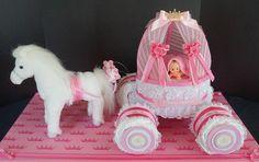 Horse and Princess Carriage Diaper Cake www.facebook.com/DiaperCakesbyDiana