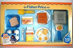 1987 NEW FISHER-PRICE FUN WITH FOOD SUPPER SKILLET BREAKFAST PRETEND PLAY SET