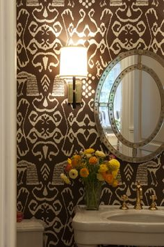 Nightingale Design - bathrooms - David Hicks The Vase Wallpaper, small powder room, powder room, wallpapered powder room, white and brown po...