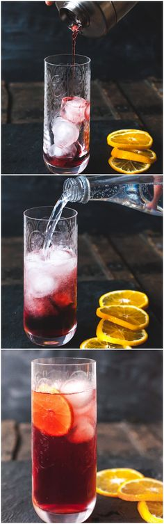 A lighter and fizzier spin on the Italian classic.⅓ shot-Campari ⅓ shot-gin ⅓ shot-sweet vermouth or Port ice Tonic water or Prosecco orange slices Summer Drinks, Cocktail Drinks, Fun Drinks, Healthy Drinks, Cold Drinks, Cocktail Recipes, Alcoholic Drinks, Beverages, Cocktails