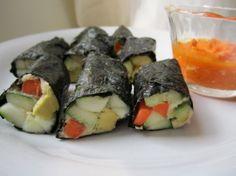 Nutritious Life: Avocado Cucumber Nori Rolls with Cashew Carrot Dipping Sauce