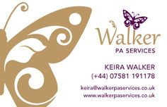 Business card front cover for Walker PA Services with new logo design