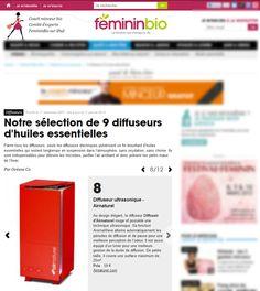 Diffusair, le diffuseur d'huiles essentielles par ultrasons est dans le guide d'achat de Femininbio.com