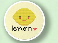 +This item is available for instant digital download*    Lemon Love. Fruit Cross Stitch Pattern PDF File    A cute lemon citrus fruit counted cross