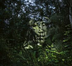 Members of a Brazilian Indigenous Tribe Projected Onto the Amazon Rainforest by Photographer Philippe Echaroux | Colossal