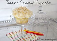 Toasted Coconut Cupcakes - The Sweet Spot Blog http://thesweetspotblog.com/toasted-coconut-cupcakes/ #cupcakes #coconut #birthdays
