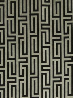 Greek Key Upholstery Fabric , Modern Black and Gray Fabric by the Yard.
