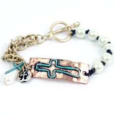 Patina Cross Pearl Bracelet $14