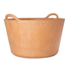 Leather firewood basket by Sol