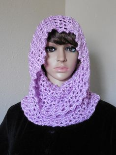 Lilac Purple Infinity Scarf Hooded Cowl Fall Fashion Scarves – Robin Harley $22.95 FREE SHIPPING WORLDWIDE!