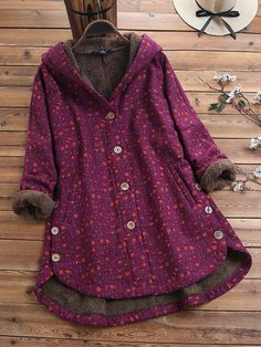 Plus Size Winter/Autumn Button-Placket Colored Flower Loose Coat Outfits Plus Size, Other Outfits, Cool Outfits, Fashion Outfits, Steampunk Fashion, Gothic Fashion, Plus Size Outerwear, Plus Size Coats, Different Types Of Dresses