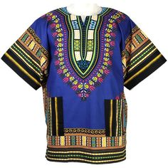 African Dashiki Mexican Poncho Hippie Tribal Ethic Boho Shirt Blue... ($15) ❤ liked on Polyvore featuring outerwear, hippie poncho and tribal poncho