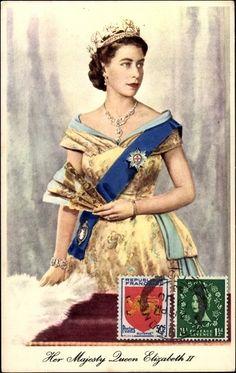 Queen Elizabeth II with hand fan