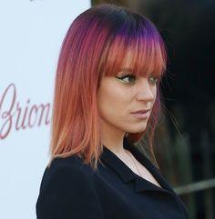 Lily Allen. Rainbow ombré hair. I love this hair color.