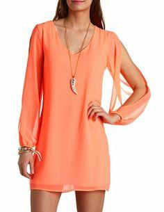 Neon Chiffon Cold Shoulder Shift Dress: Charlotte Russe