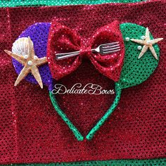 The Little Mermaid Ariel Inspired Ears: Perfect for your vacation to disneyland, photo shoots, or themed parties. Colors: Green/Purple/Red