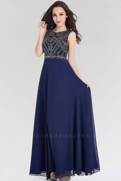 Elegant A-Line Jewel Sleeveless Floor-Length Bridesmaid Dress with Beadings   Yesbabyonline.com