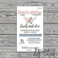 Jack and Jill Tickets - Buck and Doe - Stag and Doe Raffle Tickets - Deer Antlers Floral - Boho Stag And Doe, Ticket Design, Ticket Template, Jack And Jill, Raffle Tickets, Party Planning, Ash, Shower Ideas, Bridal Shower