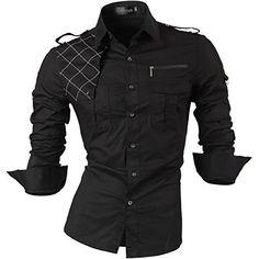 Doublju Men Comfortable Pocket Detail Long Sleeve Dress Shirt KHAKI,M