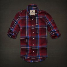 Hollister by Abercrombie Mens Plaid Shirt Red Blue L
