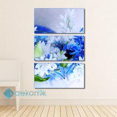 Floral Beyaz Mavi Tablo #parçalı_kanvas_tablolar