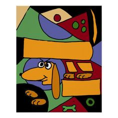 Funny Dachshund Art Abstract Poster #dachshunds #dogs #pets #animals #art #posters #funny #abstract And www.zazzle.com/petspower*