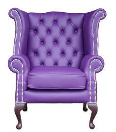 Queen Anne High Back Wing chair in purple