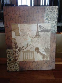 Paris Scrap-booking Paper & Modge Podge Canvas