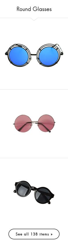 """""""Round Glasses"""" by branja ❤ liked on Polyvore featuring Hipster, indie, rock, grunge, accessories, eyewear, sunglasses, glasses, round mirror sunglasses and metal sunglasses"""
