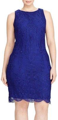 Shop Now - >  https://api.shopstyle.com/action/apiVisitRetailer?id=634251132&pid=uid6996-25233114-59 Plus Size Women's Lauren Ralph Lauren Lace Sheath Dress  ...