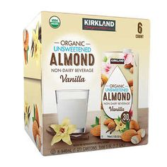 Kirkland Signature Organic Almond Beverage, Vanilla, 32 fl oz, Unsweetened Non-Dairy Beverage USDA Certified Organic No Sugar Added 192 oz. Grocery Items, Grocery Store, Costco Shopping, Organic Almond Milk, Gourmet Recipes, Healthy Recipes, Healthy Habits, Healthy Choices, Shopping