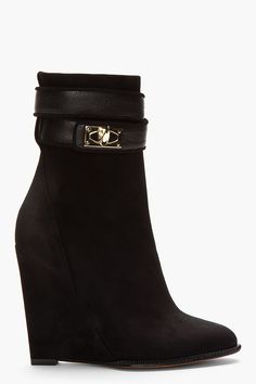 Givenchy Black Suede Shark Lock Ankle Boots