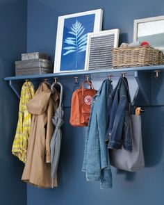 Organize an Entry Way with Double Ceiling Hooks Underneath a Shelf—Article gives link to purchase the $16.00 hooks pictured.   |   Accessed in Aug. 2013