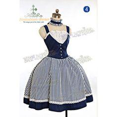 """The Lady Marine"" Rococo Lolita Steampunk Stripe Dress JSK Choker*4colors Instant Shipping"
