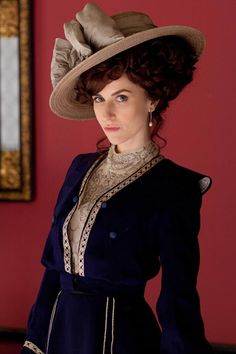 Navy Blue and Beige Lace Edwardian Dress; Lady Mae Loxley inMr Selfridge (TV Series, 2013)