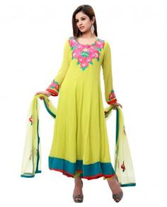 $108 Look adorable in this cool green color suit designed with floral embroidery. Georgette material is light in weight and is easy to carry away. Dupatta is beautiful with floral emboidery. Be the diva for the day and make the evening rocking. Color-Light green Material-Georgette and net Work-Floral embroidery Kurta-Color-Light green ; Material-Georgette and net Dupatta-Color-Light green ; Material-Net Churidar-Color-Light green ; Material-Silk Length of Top-48""
