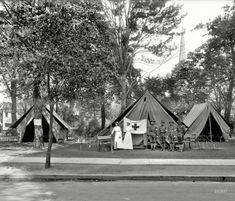 """Visiting Nurses' Association, Grand Army of the Republic National Encampment, 1914, tents, Grand Circus Park, Detroit."" A reunion of Civil War veterans."