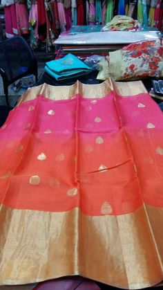 Pink and orange double shaded silk Kota