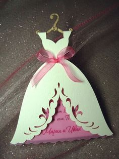 Surprise your friends and relatives by inviting them to your wedding with one of those beautiful handcrafted invitations. You can pick either bride or groom invitations or a combination of both.  ♦ Materials used: The invitation is made of a luxury or a pearl cardboard and represents a Wedding Dress on a hanger or a groom suit. ♦ Decorations: The waist of the invitation is decorated with an organza ribbon, the grooms tie or bow tie is made of satin. ♦ Color: The color of the invitations and…