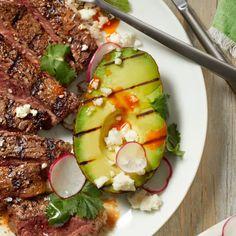 Mexican-Style Grilled Avocado - Rachael Ray In Season Quinoa Avocado Salad, Avocado Dishes, Grilled Avocado, Avocado Fries, Salmon Avocado, Avocado Recipes, Healthy Grilling Recipes, Healthy Dishes, Cooking Recipes