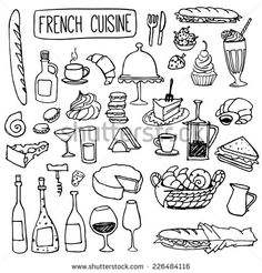 Set of doodles, hand drawn rough simple french cuisine food sketches. Isolated on white background